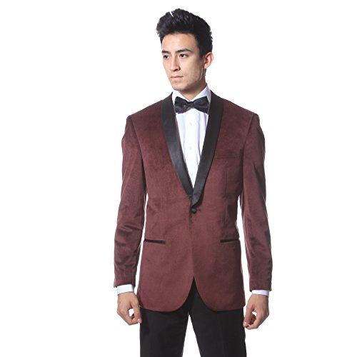 44LZonettie ENZO Burgundy Slim Fit Shawl Tuxedo Blazer