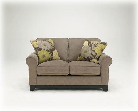 Magnificent Riley Contemporary Slate Loveseat With Floral Pillows Good Machost Co Dining Chair Design Ideas Machostcouk