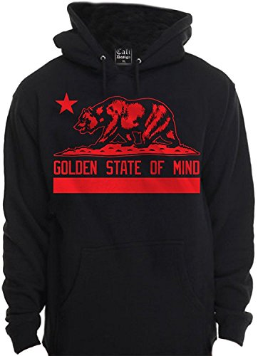 RED Golden state Of Mind Hoodie Hooded Sweatshirt California Cali flag Bear SF (Extra Large - XL) (California Golden Seals Jersey compare prices)