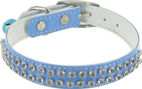Rodeo Drive Rhinestone Dog or Cat Collar with Bell - Blue, 1/2