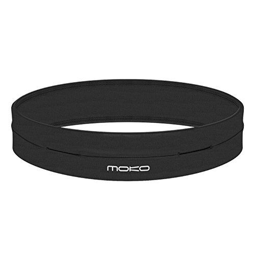 """MoKo Sport Waist packs - Marsupio Sportivo Running con 4 Tasche per iPhone 6 / 6 plus, Galaxy S6 / S6 Edge / S7 / S7 Edge, Compatibile con i cellulari fino a 6"""", NERO (L Adatto 32,5""""-36"""" girovita)"""