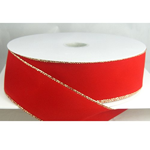 Wired Traditional Red with Gold Edges Velvet Ribbon