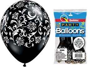"PIONEER BALLOON COMPANY 5 Count Round Damask Print, 11"", Onyx"