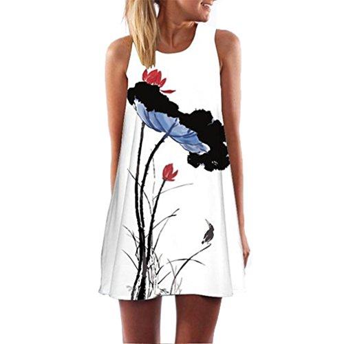 Hot Sale! Women Sleeveless Printed Mini Dress,Canserin Vintage Boho Summer Beach (XL, White)
