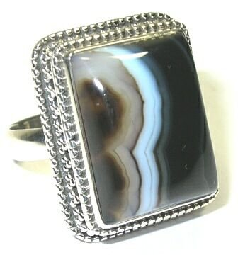 Banded Agate Sterling Silver Ring - Size 8.75
