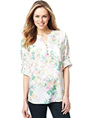 Open Neck Collar Fluro Floral Top