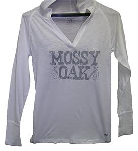 Russell Outdoors Ladies V-Neck Hooded L/S Tee Mossy Oak Logo White Medium