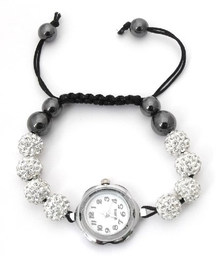 Ladies/Girls 12 Ball Shamballa bracelet watch - sparkling crystal disco balls - Celebrity Friendship Band - Silver (QBD)