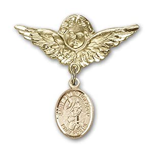 14K Gold Baby Badge with St. Peter Nolasco Charm and Angel with Wings Badge Pin