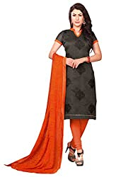 Inddus Women Black & Orange Colored Embroidered Dress Material