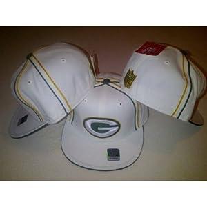 Reebok Green Bay Packers White Green Fitted NFL Reebok Flat Bill Cap