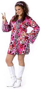 Retro Go-Go Dress 60s 70s Halloween Costume Womens US Plus (16W-20W)