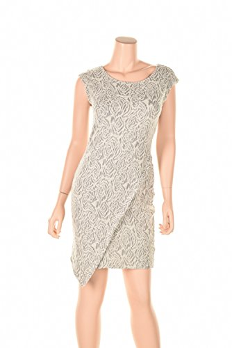 Kiind Of Gloria Vanderbilt L Gray Lace rose detailed asymmetrical shift dress