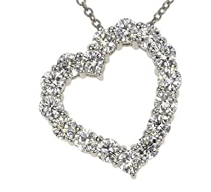 18k White Gold Floating Diamond Heart Pendant (1.02 cttw, E-F Color, VS1-VS2 Clarity), 16""