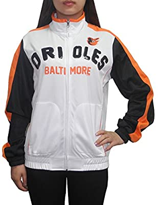 MLB Baltimore Orioles Womens Athletic Zip-Up Track Jacket with Sequins