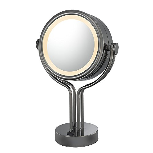 Kimball And Young 71405 Double-Sided Contemporary Four Post Vanity Mirror, 1X And 5X Magnification, Black Nickel front-904642
