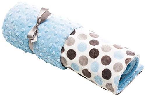 "Elonka Nichole Baby Boy Jumbo Dot Original Mimi Receiving Blanket, Blue/Grey, 35"" X 29"""