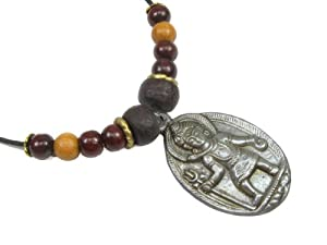 Lord Krishna Brass Pendant On Cord Necklace, w/ Bodhi Seeds, Red and Natural Sandalwood
