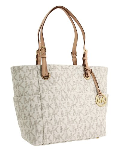 Michael Kors East West Top Zip Pvc Vanilla Shoulder Bag Tote