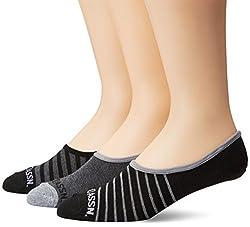U.S. Polo Assn. Men's 3 Pack Toe Stripe Liner Sock, Black, 10-13/6-12