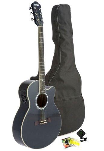 Fever 5015Ce-Bk Full Size Jumbo Body Steel String Acoustic-Electric Guitar, Black