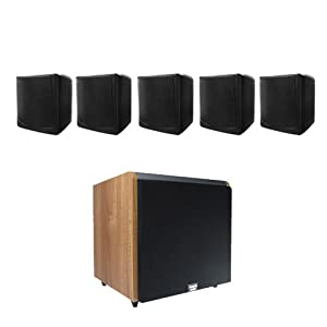 "Acoustic Audio CUBE35B 5.1 Home Surround Speaker System w/Maple 12"" HD Powered Sub"