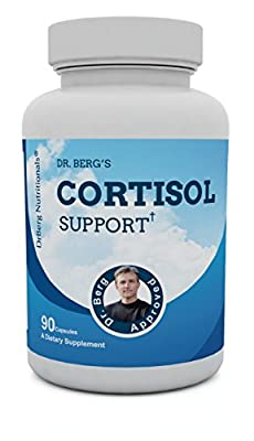 Cortisol Support Formula - Targets Chronic Adrenal Fatigue, Fibromyalgia & Burnout - Supports Hot Flashes - Rejuvinate, Renew & Recovery Formula - All Natural Health - 90 Capsules By Dr. Berg