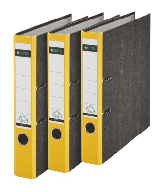 Leitz 310315015 Qualitäts-Ordner 180A mit Schlitzen A4 Schmal, 3 Stück, gelb