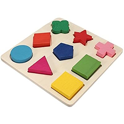 Homgaty Colorful Wooden Building Blocks 9 Shapes Plate Baby Kids Toy Educational