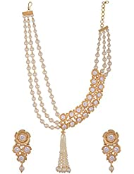 Arihant Jewellers Off-White Gold Plated Multi-Strand Necklace Set For Women (ML-137)
