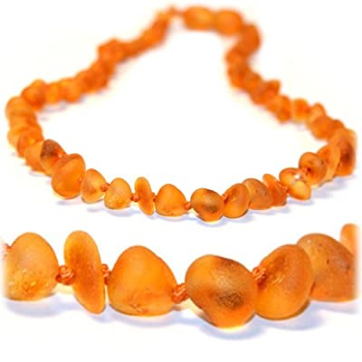 "The Art of CureTM *SAFETY KNOTTED* Raw chip - Certified Baltic Amber Baby Teething Necklace w/ ""The Art of CureTM"" Jewelry pouch (SHIPS AND SOLD IN USA) from The Art of Cure"