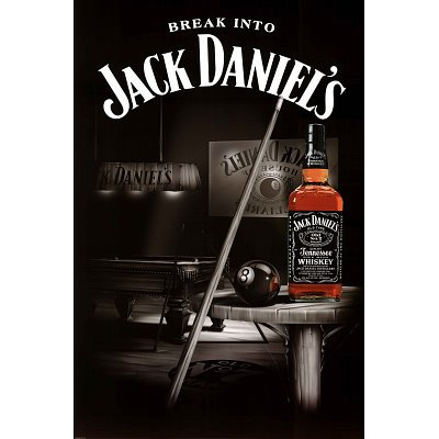 Cheap Jack Daniels Whiskey Billiards Pool Table Poster   24x36 On Sale