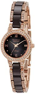 Armitron Women's 75/3919RGBN Brown Ceramic and Rose Gold-Tone Swarovski Crystal-Accented Bracelet Watch