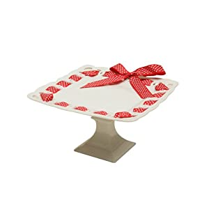 Gracie China 9-1/2-Inch Square Porcelain Cake Stand Embossed Square Pedestal White with Red White Polka Dot Ribbon