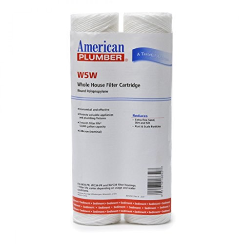 American Plumber W5W WOUND Whole House Sediment Filter Cartridge 5 Micron Well Pump Irrigation (2) (Plumbers Pump compare prices)