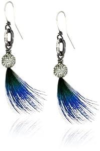Deanna Hamro Atelier Mini Pave Ball Peacock Feather Earrings