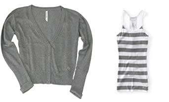 Aeropostale Womens; Juniors Medium Heather Grey Solid V-Neck Cardigan Coordinated with Aero's Foil Stripe Grey Racerback Tank Top (Large)