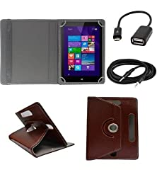 ECellStreet 360° Degree Rotating 7 Inch Flip Cover Diary Folio Case With Stand For 7 Inch Swipe Legend Tablet - Dark Brown + Free Aux Cable + Free OTG Cable