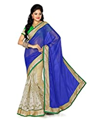 De Marca Blue Faux Georgette Casual M710 Saree