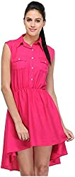R&V Women's A-Line Dress (DRS1023_Pnk, Pink, S)
