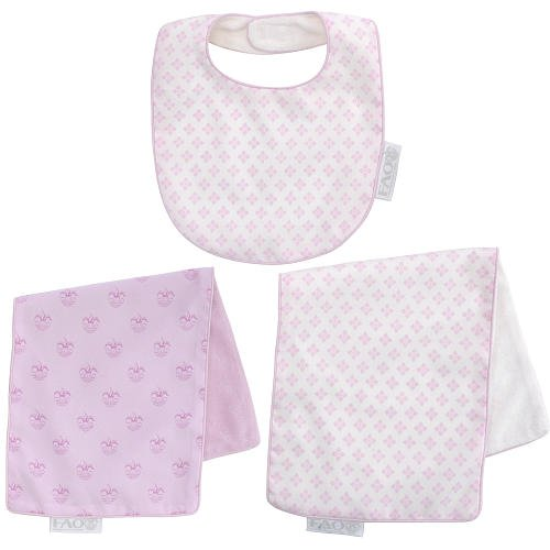 FAO Schwarz Posy Reversible Bib and Burp Cloth Set