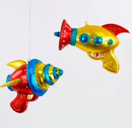 Christmas Retro Space Ray Guns Glass Sci Fi Ornaments