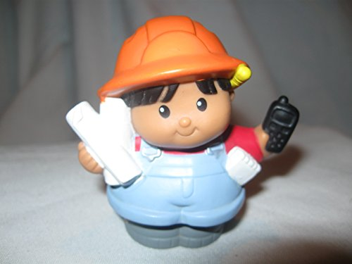 Fisher Price Little People Construction Demolition Builders Workers Drafters Hard Hat Job Site Load & Go Construction Builder RARE Orange Hat Black Hair Drafter Red Top Tan Skin OOP 2002 - 1