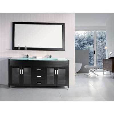 Design Element Dec016B Waterfall 72-Inch Espresso Finish Double Sink Vanity Set