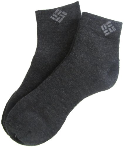 Columbia Men's Wool Quarter, Charcoal, 10-13 Sock Size (Shoe Size 6-12)