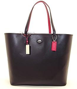 COACH Women's Mto Leather Tote Silver/Black/Raspberry