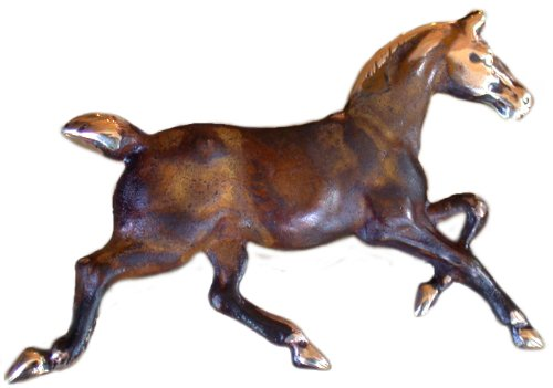 Earth Patina Solid Brass Classic Running Horse Pin