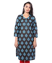Lal Chhadi Women's Black color 3/4 Sleeve Cotton Kurta