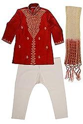 Viaan Retail Boys' Silk Kurta Pyjama Set (VKPM10010415_2, Red, 4-5 Years)