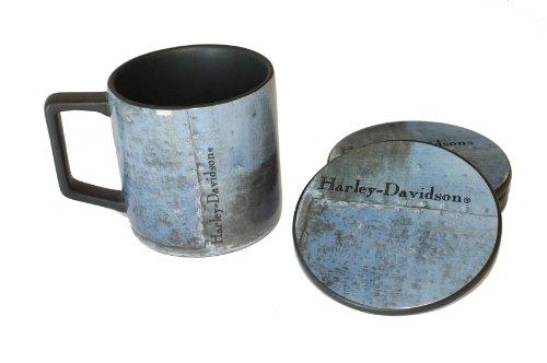 Harley Davidson Denim Blue Ceramic Coffee Mug Cup And Coaster Set